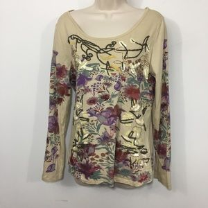 SUNDANCE Beige Embroidered Sequin Top Size Small S
